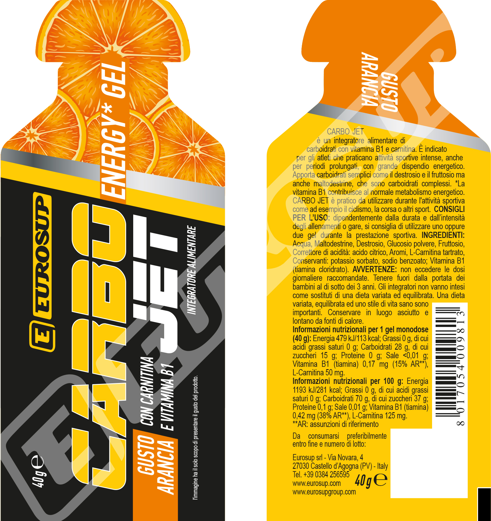 CARBO JET ENERGY GEL - con carnitina